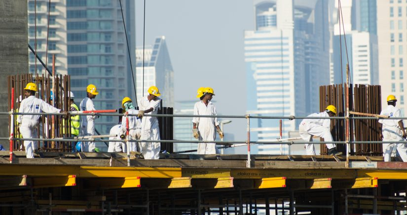 Migrant construction workers in Dubai